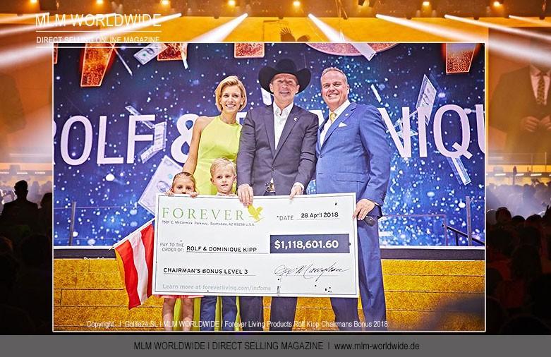 Forever Living Products Diamond Eagle Manager Rolf Kipp erhält Chairman´s Bonus in Höhe von 1.118.601,60 Dollar